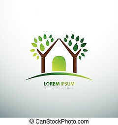 Eco house - Eco green house concept signs and icons , vector...