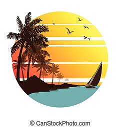 summer vacation on tropical beach Sunset, with Palm trees...