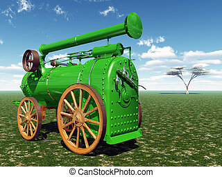 Traction engine - Computer generated 3D illustration with a...