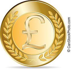 Gold coin with pound sterling sign.