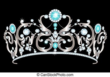 Diadem - Vintage silver tiara with jewels on black...