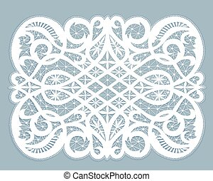 Lace doily - White lace doily with flowery pattern on a gray...