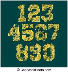 Vintage numbers set in grunge style.