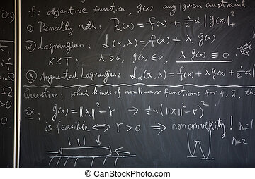 Blackboard with math lesson written on it