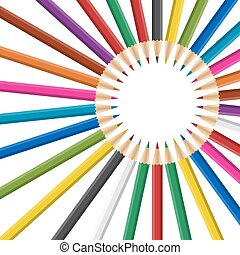 Circle of rainbow colored pencils on white background.