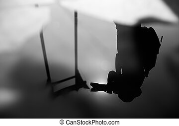 Giant swing abstract - Silhouette of tourist reflection on...