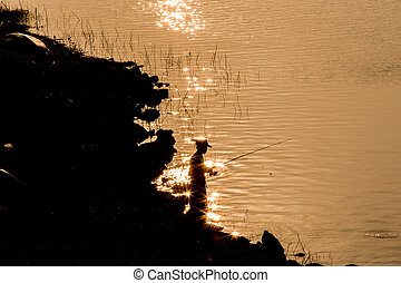 Angler - Man standing on fishing are silhouette Country life...