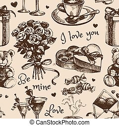 Valentine's Day Hand drawn sketch vector illustration
