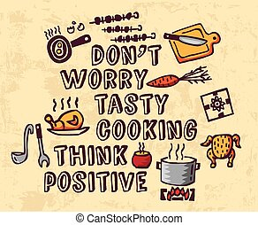 Cooking poster positive thing greeting and objects