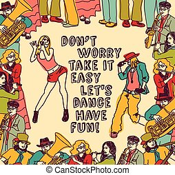 Dancing and music people positive poster color