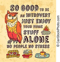 Happy introvert concept art color sign