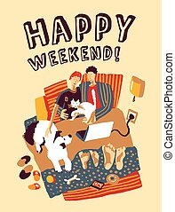 Happy weekend home bad family and pets