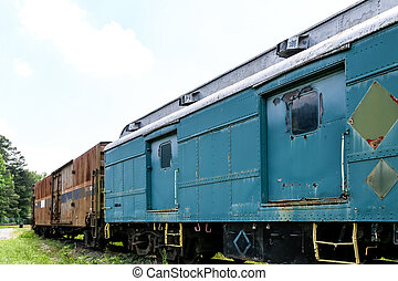 Blue and Brown Train Cars