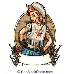 Pin Up Girl label with ribbon banner and guns - Cowgirl...