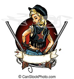 Pin Up Girl label with ribbon banner and guns