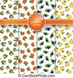Seamless Pattern with Fruit Background - Set of Seamless...