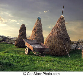 Rural scenery - Three haystacks and a cart standing on a...