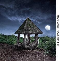 Fantasy summerhouse - Fanciful looking summerhouse lightened...