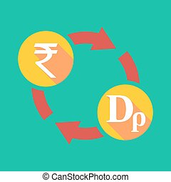 Exchange sign with a rupee sign and a drachma sign -...