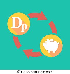 Exchange sign with a drachma sign and a piggy bank -...