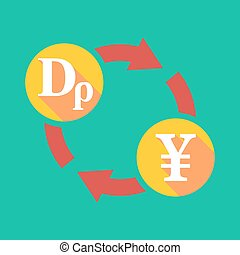 Exchange sign with a drachma sign and a yen sign -...