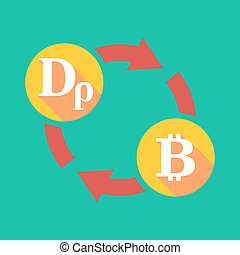 Exchange sign with a drachma sign and a bit coin sign -...
