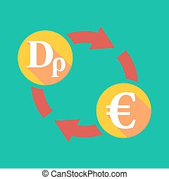 Exchange sign with a drachma sign and an euro sign -...