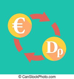 Exchange sign with an euro sign and a drachma sign -...