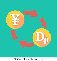 Exchange sign with a yen sign and a drachma sign -...