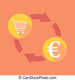 Exchange sign with a shopping cart and an euro sign