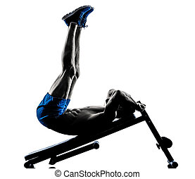 man exercising fitness crunches Bench Press exercises...