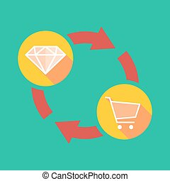 Exchange sign with a diamond and a shopping cart