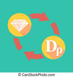 Exchange sign with a diamond and a drachma sign -...