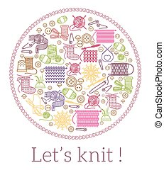 Lets knit. Knitting and needlework sign. Handmade and...