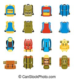 Travel backpack, camping rucksack and school bag icons...