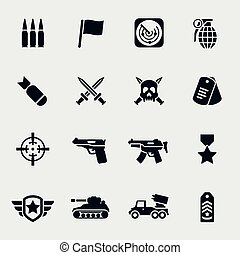 Vector war icons Military and weapon, gun and army, force...