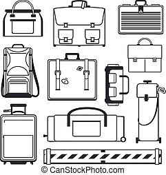 Luggage icons set. Bag and suitcase, baggage business,...