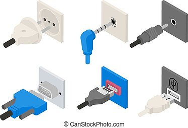 Plugs icons, isometric 3d vector. Power and electric, usb...