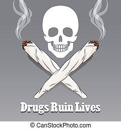 Vector anti drug poster. Danger narcotic and marijuana,...