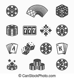 Gambling icons set Card and casino, poker game, dice and ace...