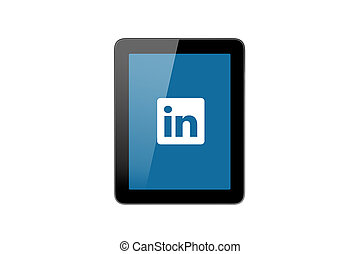 LinkedIn Icon on Tablet Pc - ISTANBUL, TURKEY - MAY 2, 2015:...
