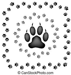 Animal Prints - Animal Paw Prints Isolated on White...