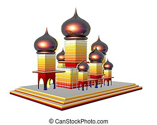 Taj Mahal - 3D illustration of the Taj Mahal isolated over...