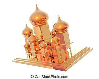 Taj Mahal - 3D illustration of gold Taj Mahal isolated over...