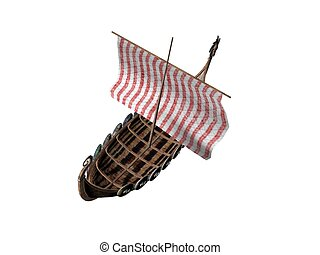 Viking Ship - 3D illustration of a viking ship isolated on...