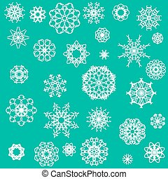 Snow Flakes Icons Isolated on Green Background