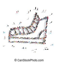 people in the shape of ice skating, sports. - A group of...