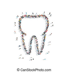people in theshape of a tooth, dentistry - A group of people...