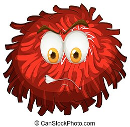 Angry face on red pom pom illustration