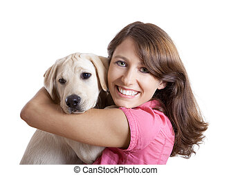 Girl and her best friend - Beautiful young woman embracing a...